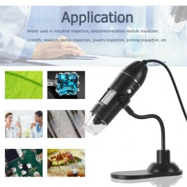 Digital Zoom Microscope USB Handheld & Desktop Magnifier 0.3MP Camera 8-LED Light Magnifying Glass 1000X Magnification for Windows/Mac System with Stand