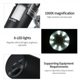 1000X Magnification USB Digital Microscope with Stand Magnifier with 8-LED Light Magnifier for iOS/Android