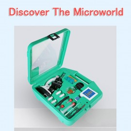 Microscope Set with Accessories Kit 100X-1200X Children Kids Students All-Metal Microscope Biology Biological Science Scientific Lab Experiment Microorganism Microscopic Magnifier
