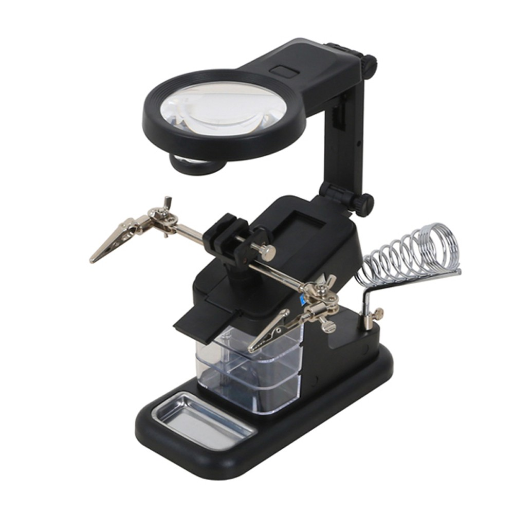 Multifunctional Table Model Glass Auxiliary Clip Desktop LED Lighted Metal Acrylic USB Port Soldering Stand Repair Tool Magnifier